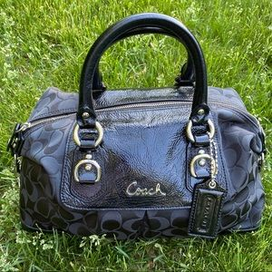 Coach Ashley NWOT Black Sateen Satchel Bag